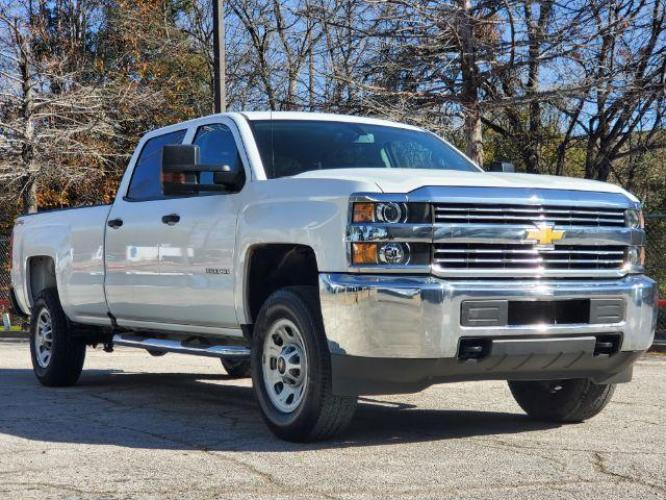 2018 Summit White /Dark Ash Seats w/Jet Black Interior Accents, vinyl Chevrolet Silverado 2500HD Work Truck Crew Cab Long Box 4WD (1GC1KUEG8JF) with an 6.0L V8 OHV 16V FFV engine, 6-Speed Automatic transmission, located at 12182 Garland Rd, Dallas, TX, 75218, (214) 521-2040, 0.000000, 0.000000 - Photo #0